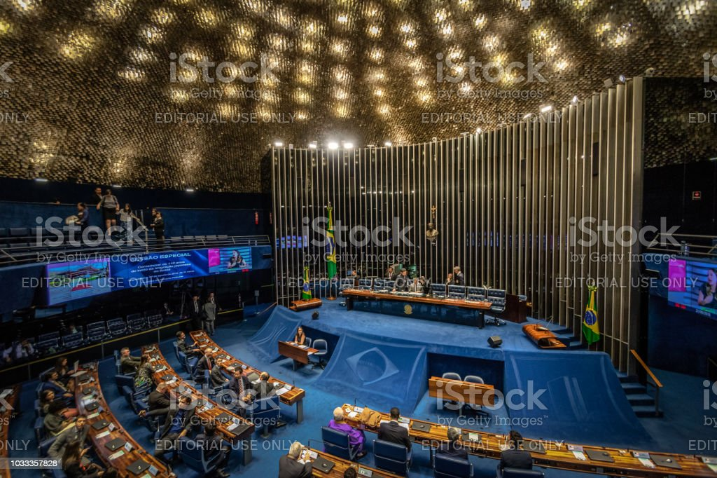 Federal Senate Plenary Chamber at Brazilian National Congress - Brasilia, Distrito Federal, Brazil stock photo