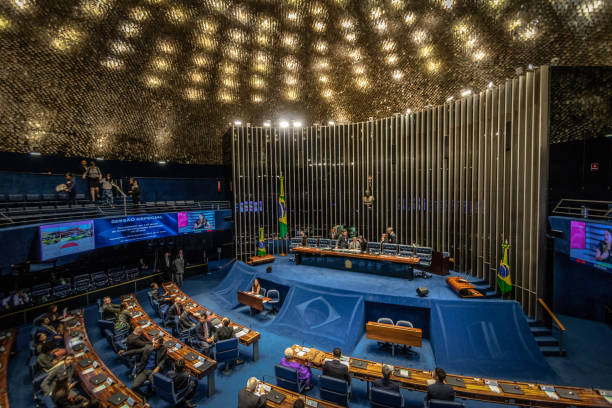 Föderale Senat Plenarsaal am brasilianischen Nationalkongresses - Brasilia, Distrito Federal, Brasilien – Foto
