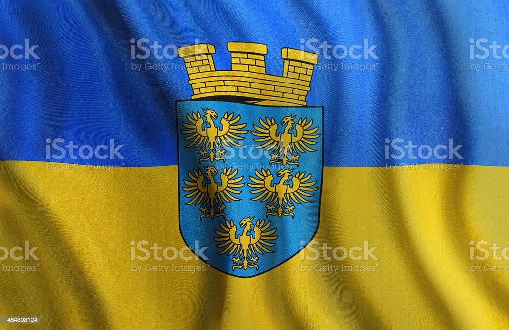 Federal State Flag of Lower Austria Niederoesterreich stock photo