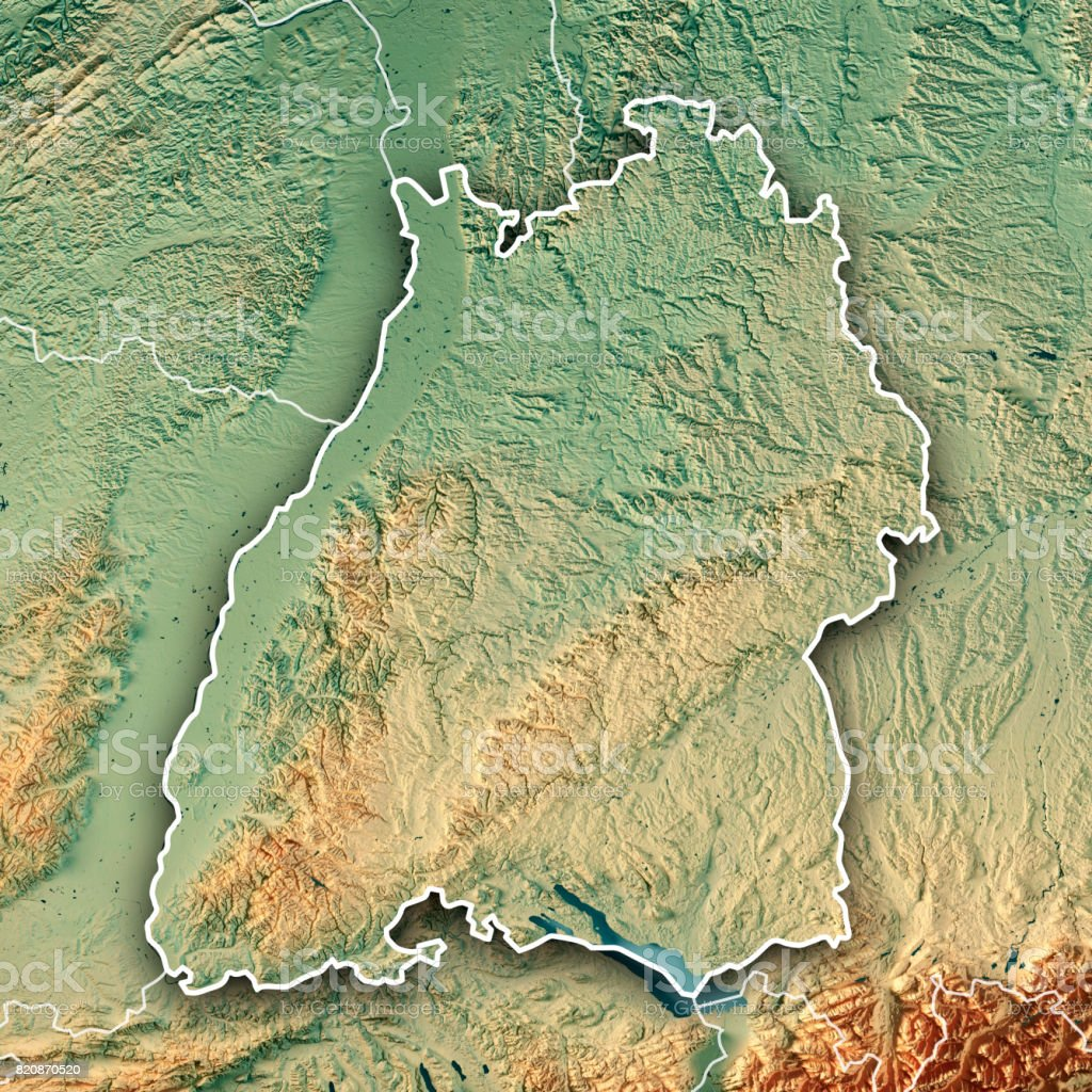 federal state of baden wrttemberg germany 3d render topographic map border royalty free stock