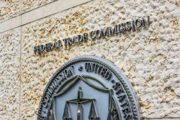 Federal Trade Commission seal, sign and logo in downtown stock photo