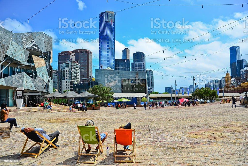Federation Square in Melbourne stock photo