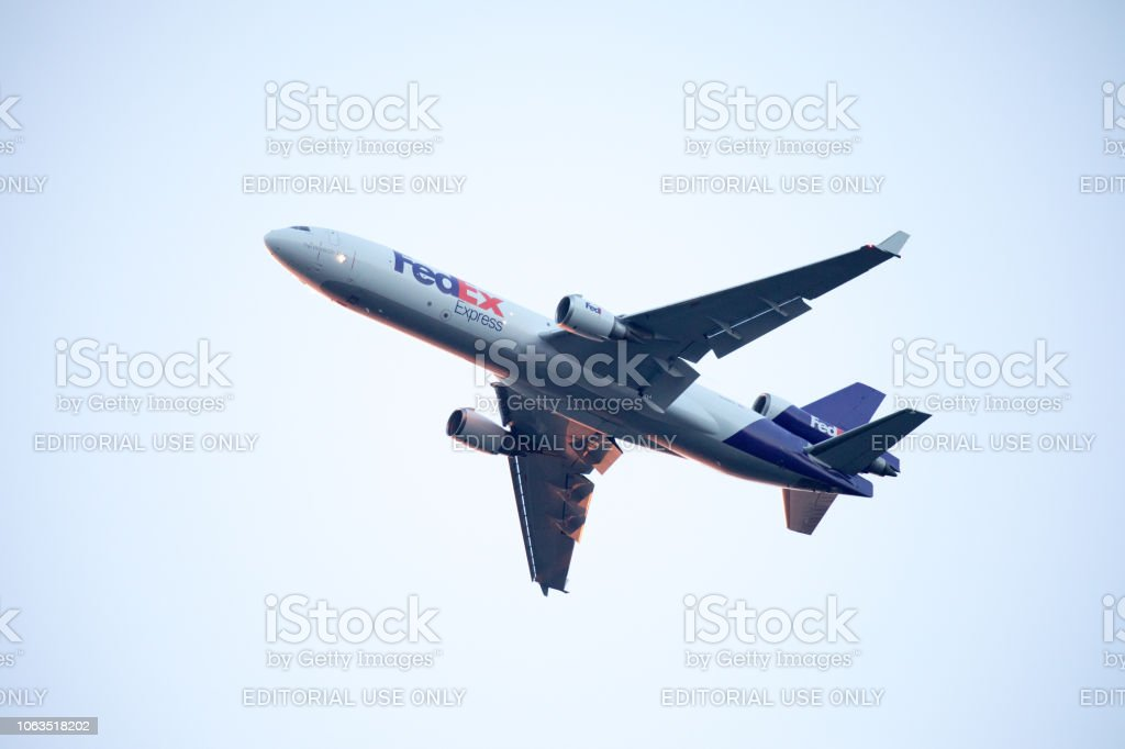 Fedex Aircraft Approaching Jfk Airport Stock Photo Download