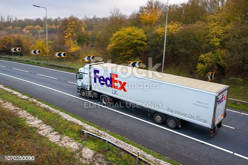 istock Fedex lorry in motion 1070250090