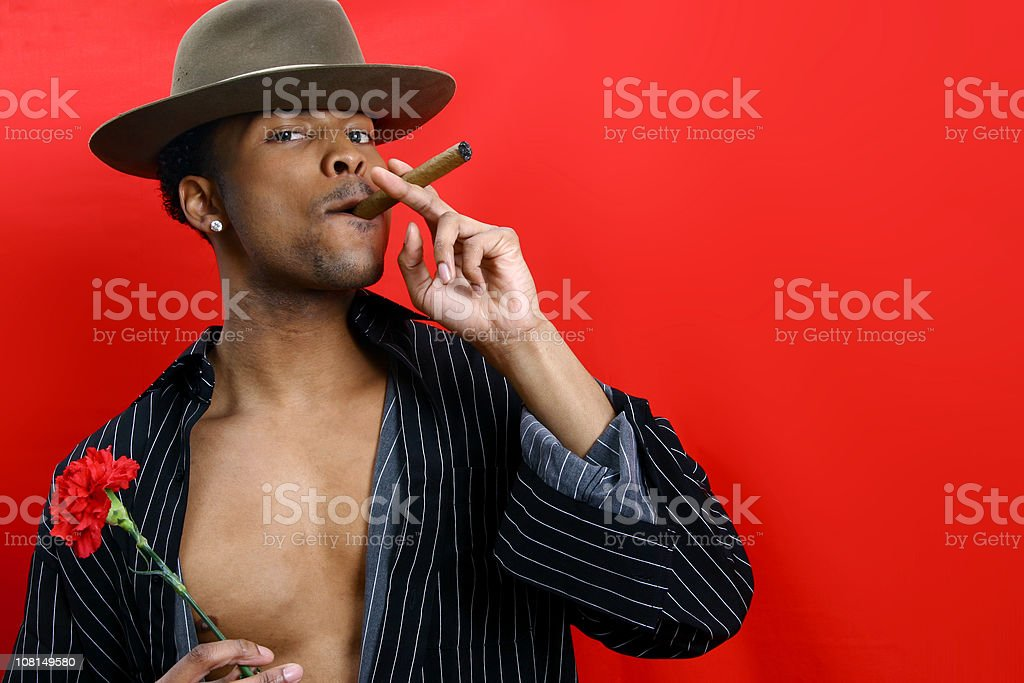 Fedora, Carnation, and Cigar stock photo