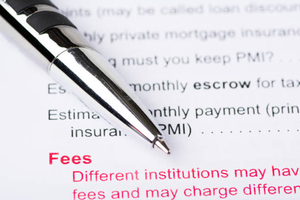 Fee Document with Pen stock photo