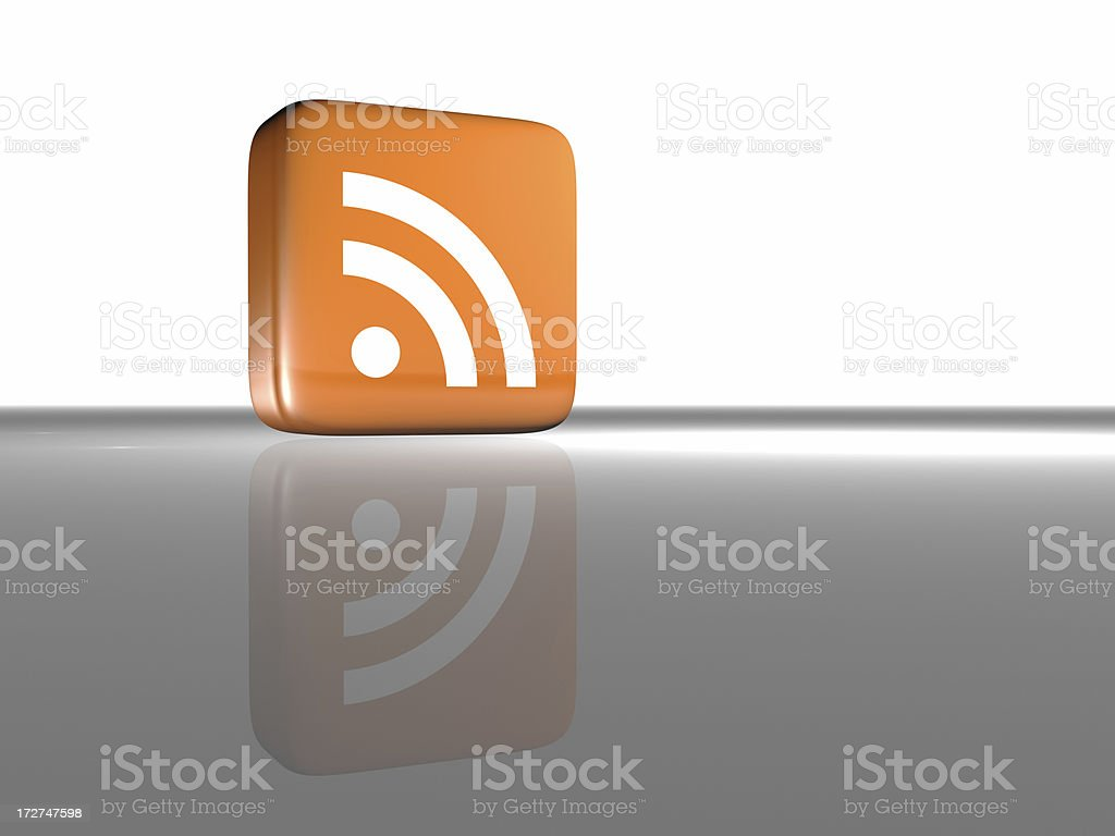 Rss Feed Icon Grey From Side Stock Photo - Download Image
