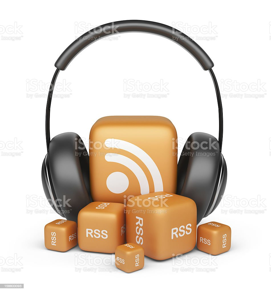Feed of rss audio news.  3D icon isolated stock photo