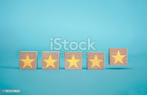 istock Feedback and Rating Concept on the Blue Background 1182020650