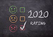 istock 2020 feedback concept - 2020 review or rating with smileys - sad smiley checked, bad feelings bad year 1282501340