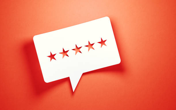 Feedback Concept - White Chat Bubble With Cut Out Star Shapes Over Pink Background White chat bubble with cut out star shapes over pink background. Horizontal composition with copy space. Great use for feedback concepts. rating stock pictures, royalty-free photos & images