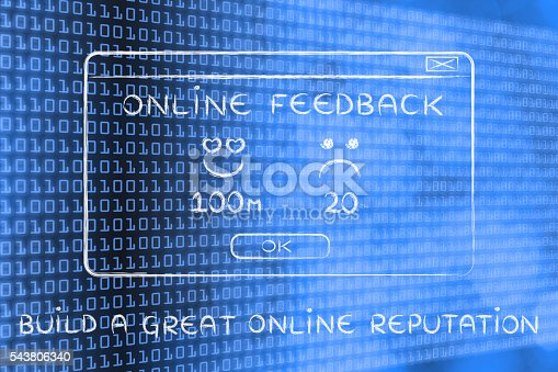 istock feedback pop-up window with text Build a great online rep 543806340