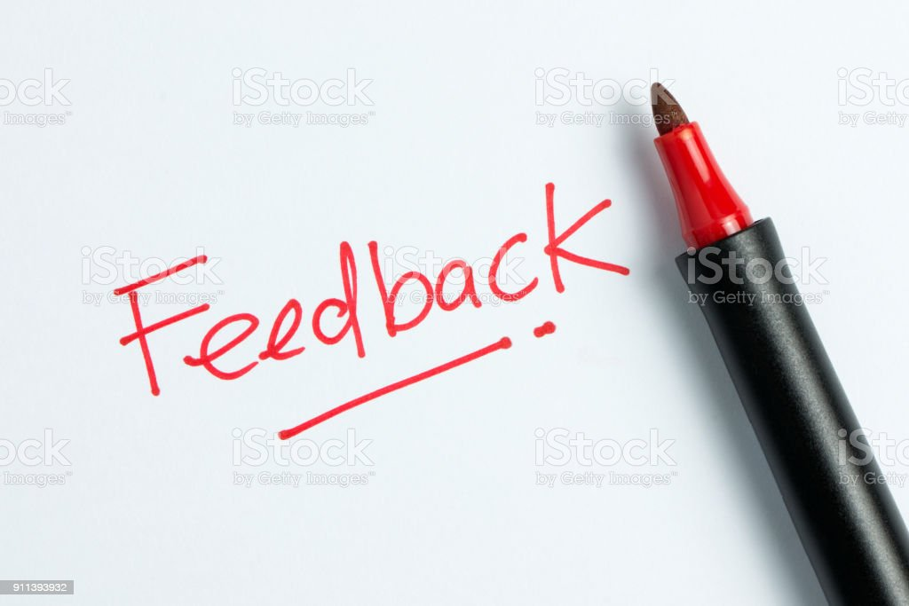 Feedback text with red marker pen stock photo
