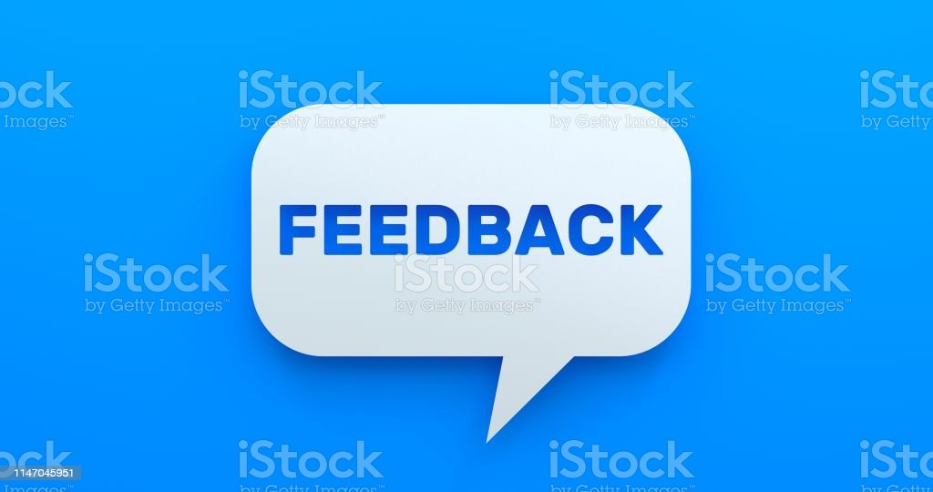 Feedback. White Chat Bubble On Blue Background