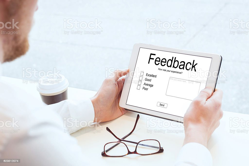 feedback, writing review online stock photo
