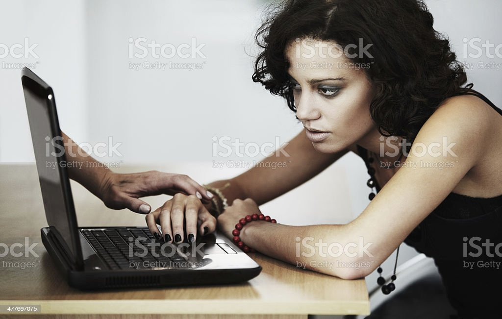 Feeding her delusion online stock photo