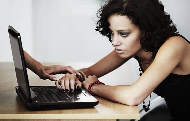 feeding her delusion online - stalking stock photos and pictures