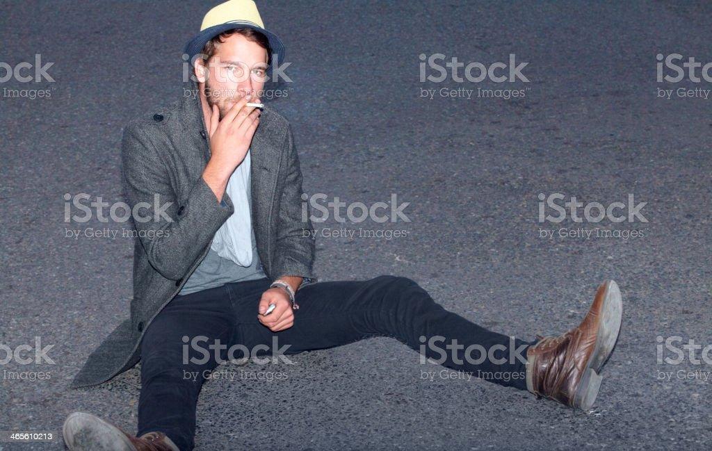 Feeding his habit stock photo