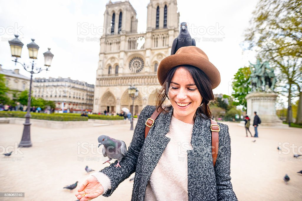 Feeding Pigeons at Notre Dame Cathedral Paris France stock photo