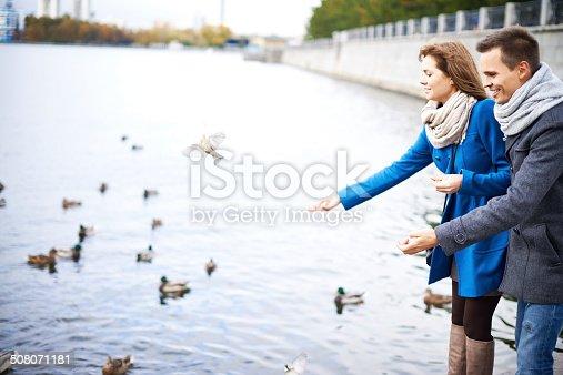 Young couple feeding water birds