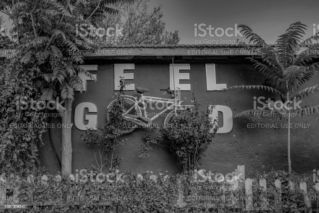I feel good text quote, motivation bike concept on wall stock photo