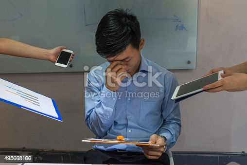 istock Feeling annoyed due to many interruption come from colleagues 495668166