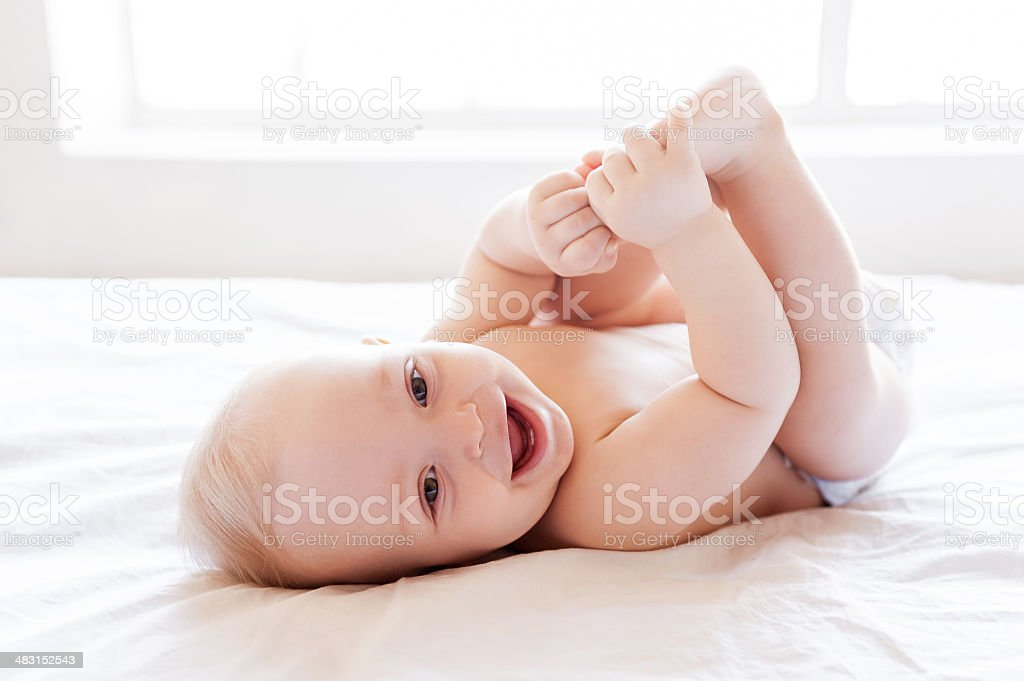 Feeling dry and happy. stock photo