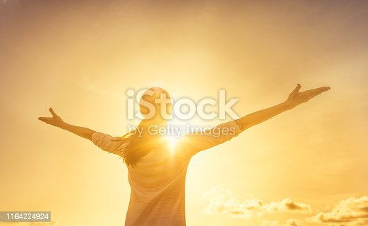 Woman feeling full of positive energy.