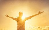 Woman feeling full of positive energy.