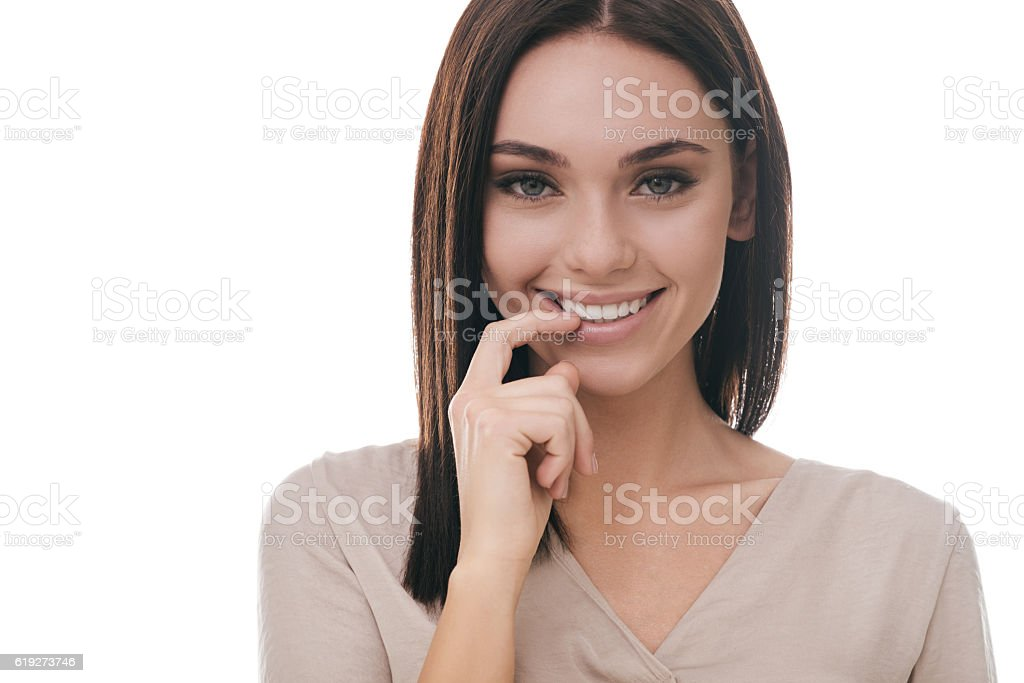 Feeling flirty. stock photo
