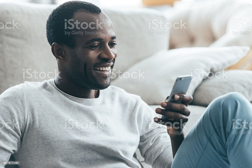 Feeling good at home. stock photo