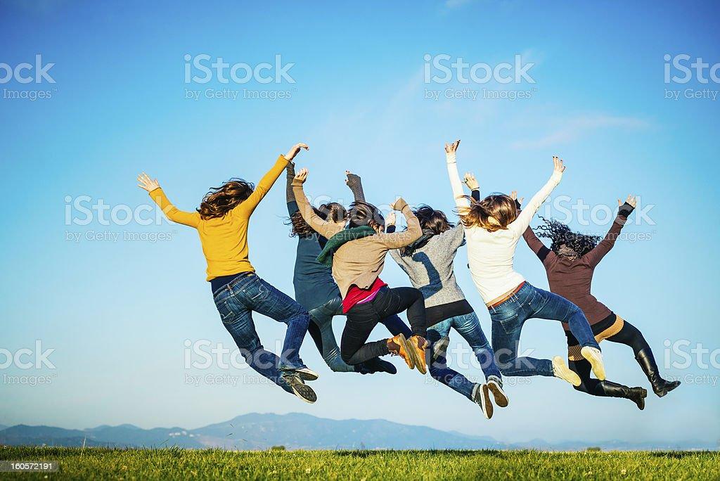 Feeling Good Heel Click Jump stock photo