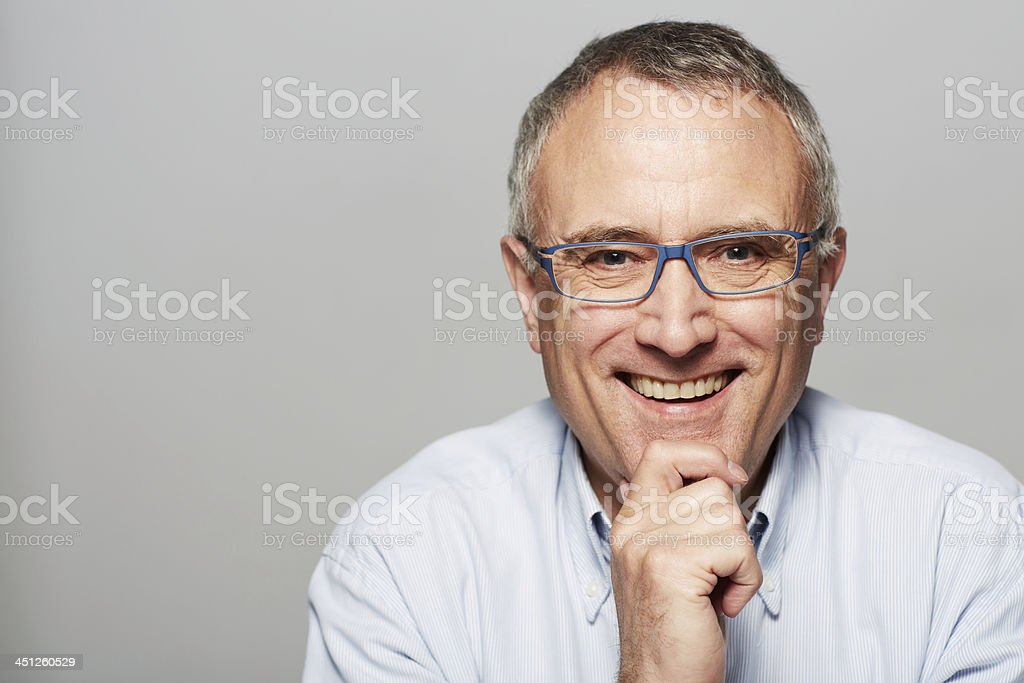 Feeling great about his retirement! stock photo