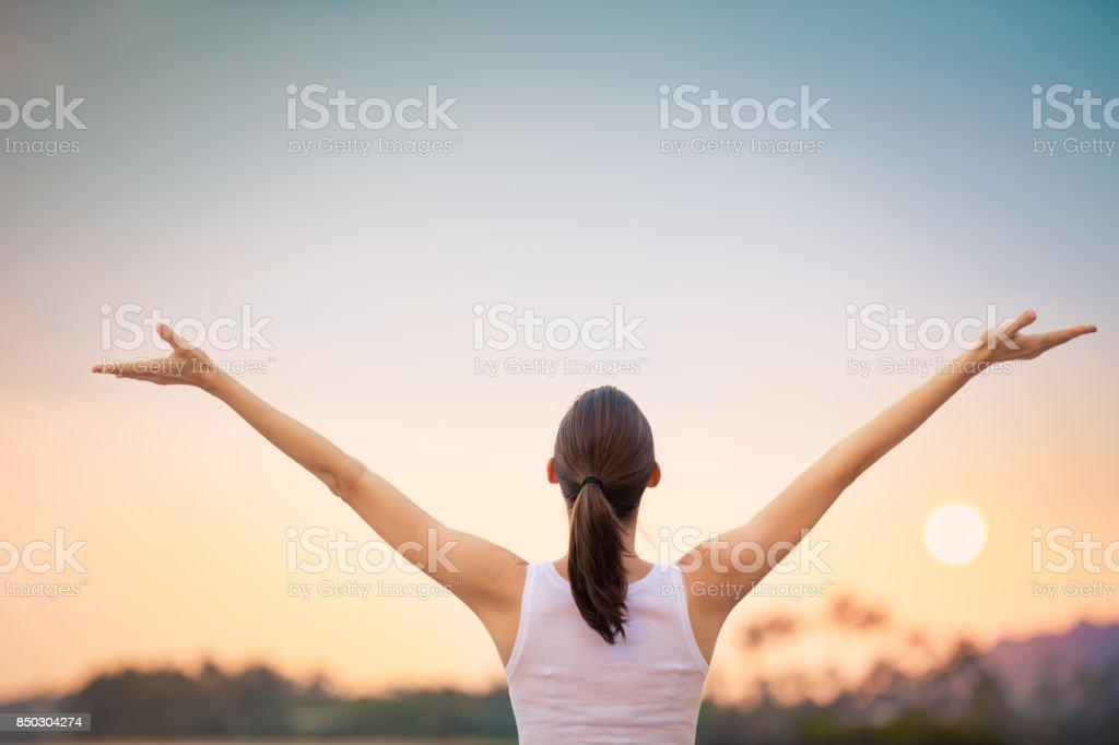 Feeling happy and free stock photo