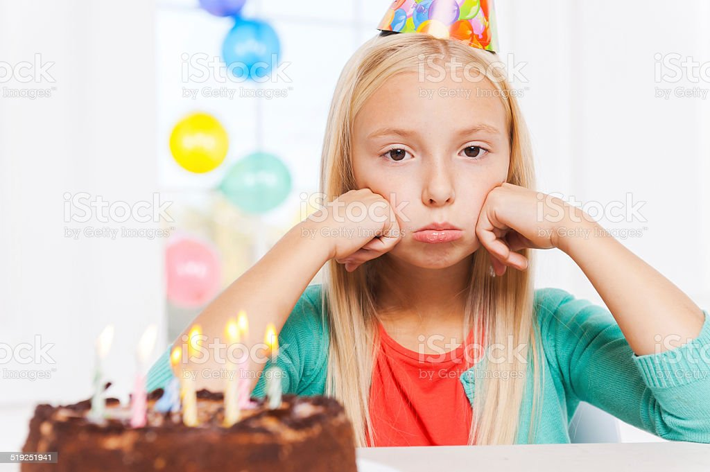 Feeling lonely at her party. stock photo
