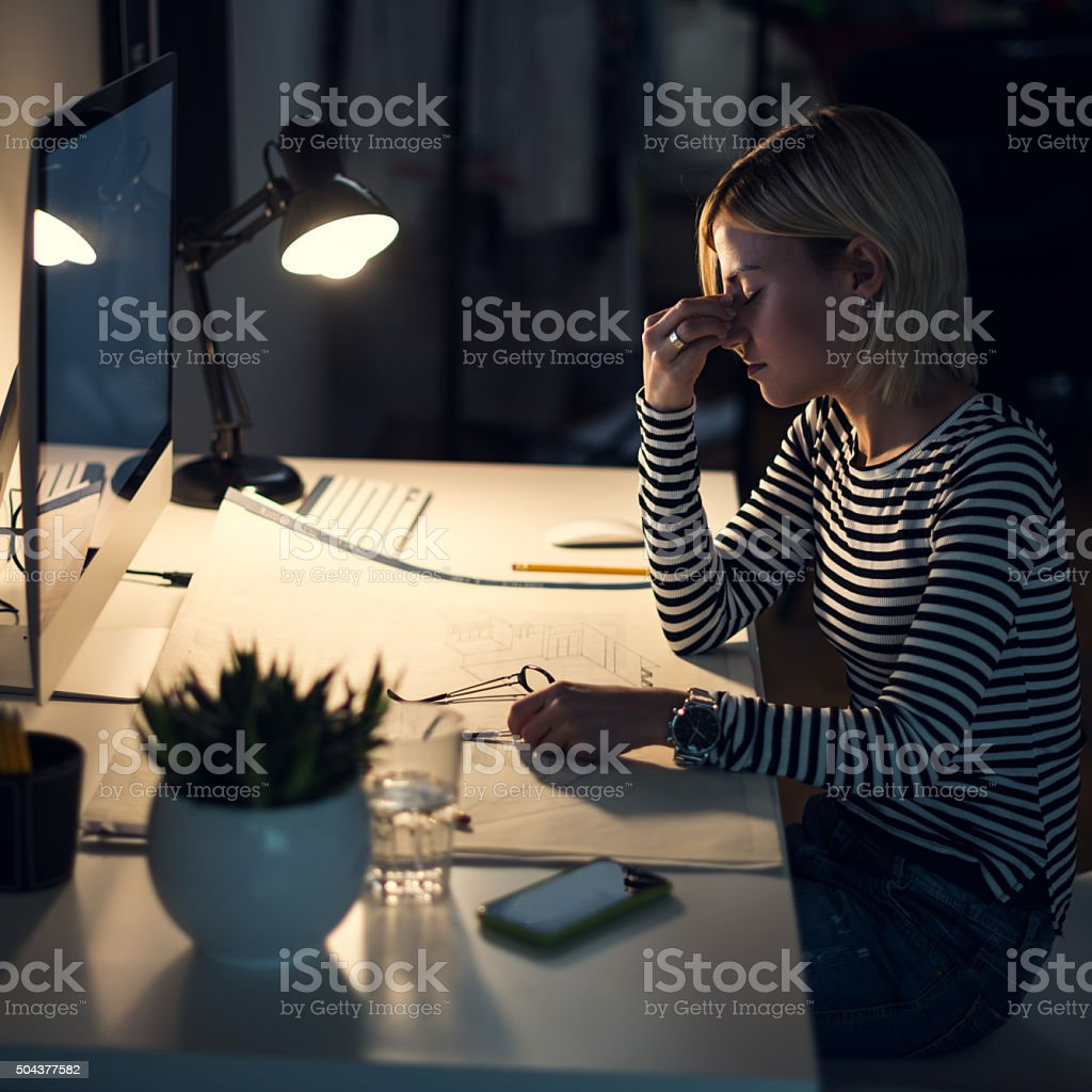Feeling overwhelmed stock photo