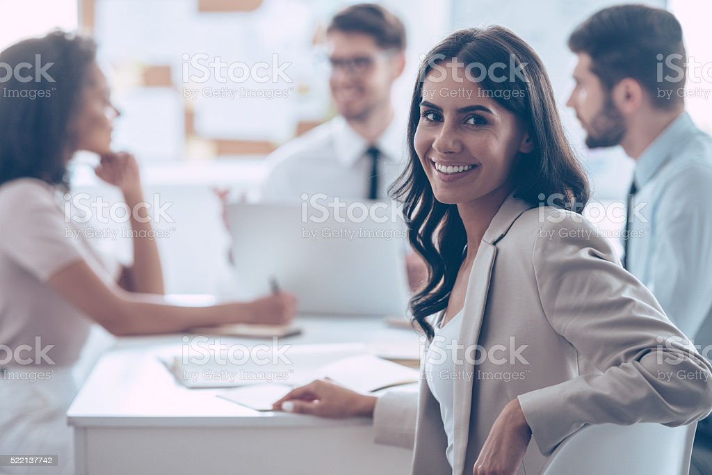 Feeling satisfied with her team. stock photo