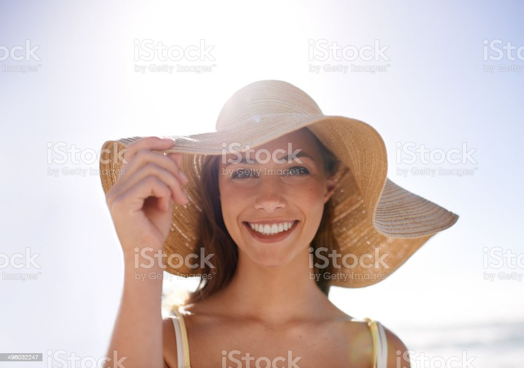 Feeling summery in her sunhat stock photo
