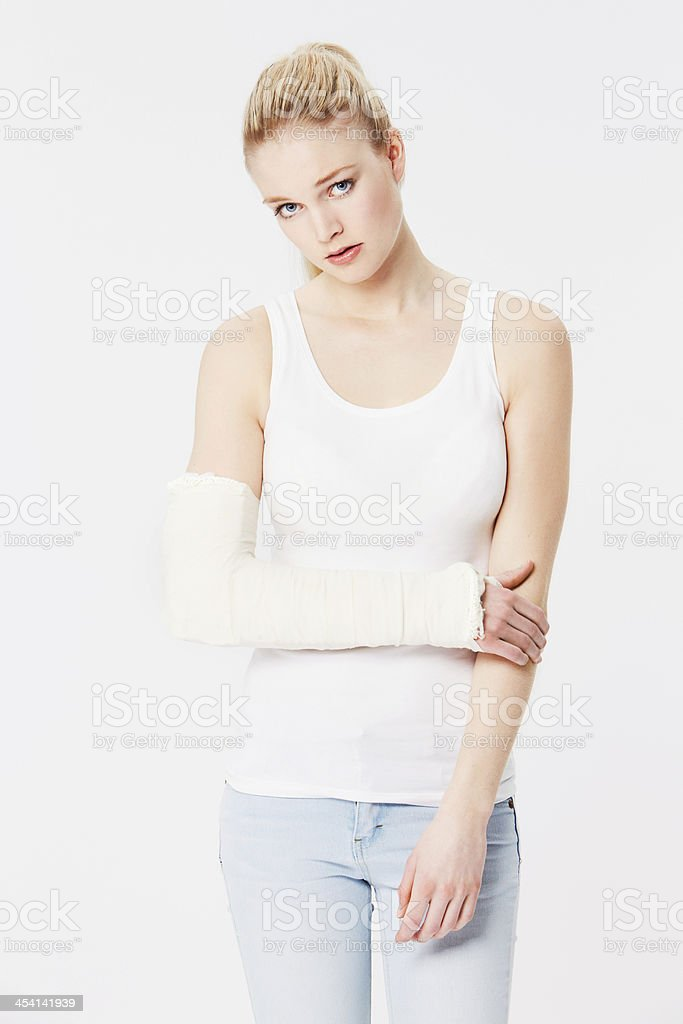 Feeling the affects of a bad injury stock photo