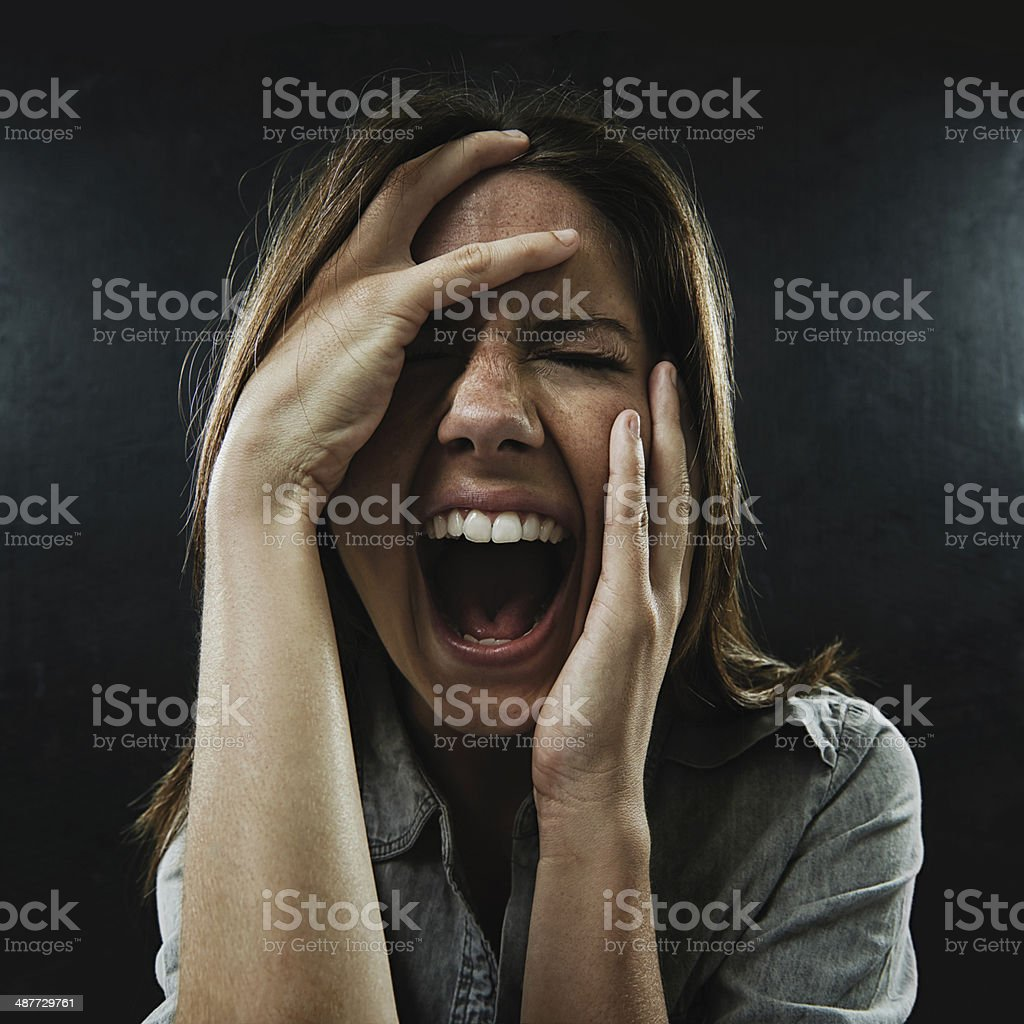 Feeling the affects of her confused and oppressed mind stock photo