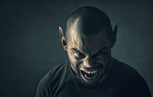 feeling the full moon - demon stock photos and pictures