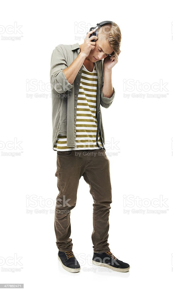 Feeling the groove from head to toe! stock photo