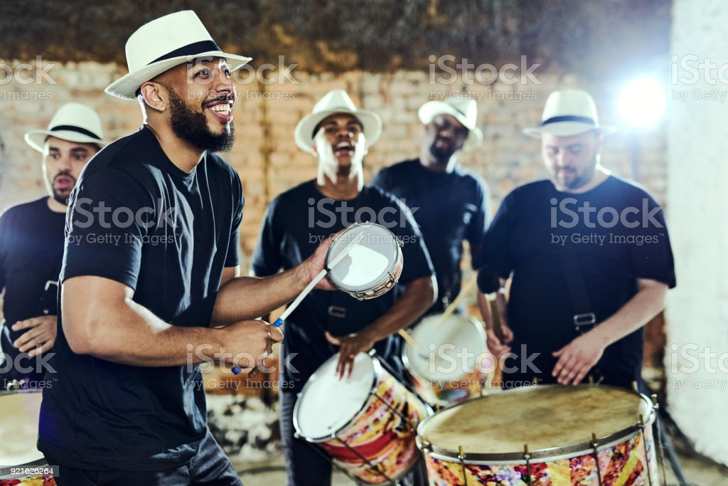 Feeling the rhythm in the drums stock photo