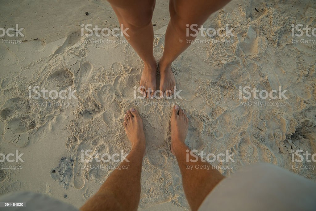 Feeling the sand between your toes stock photo