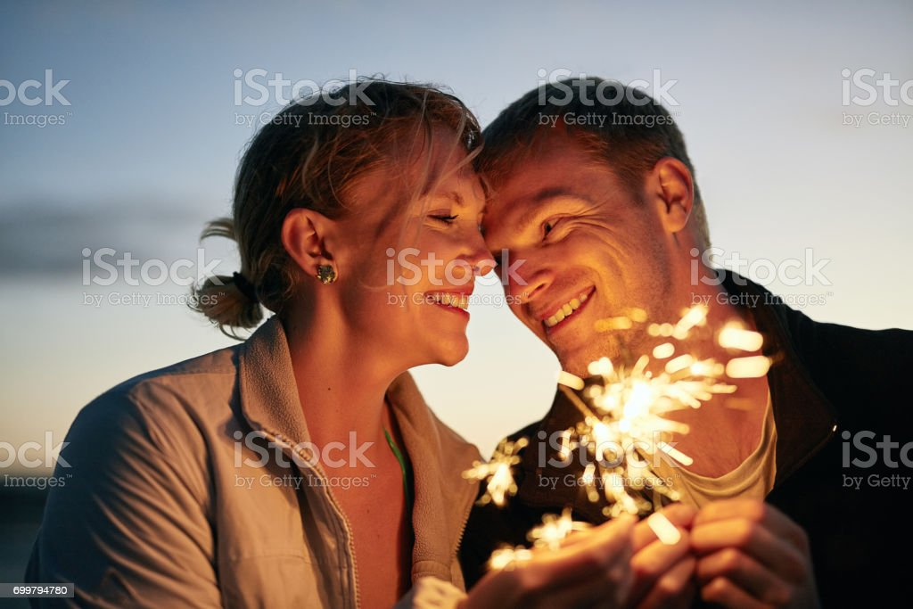 Feeling the spark of new love stock photo