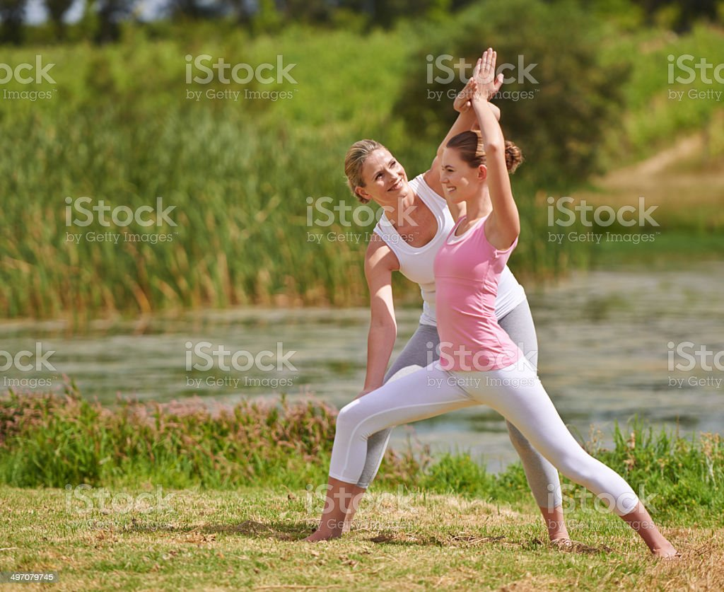Feeling the stretch stock photo