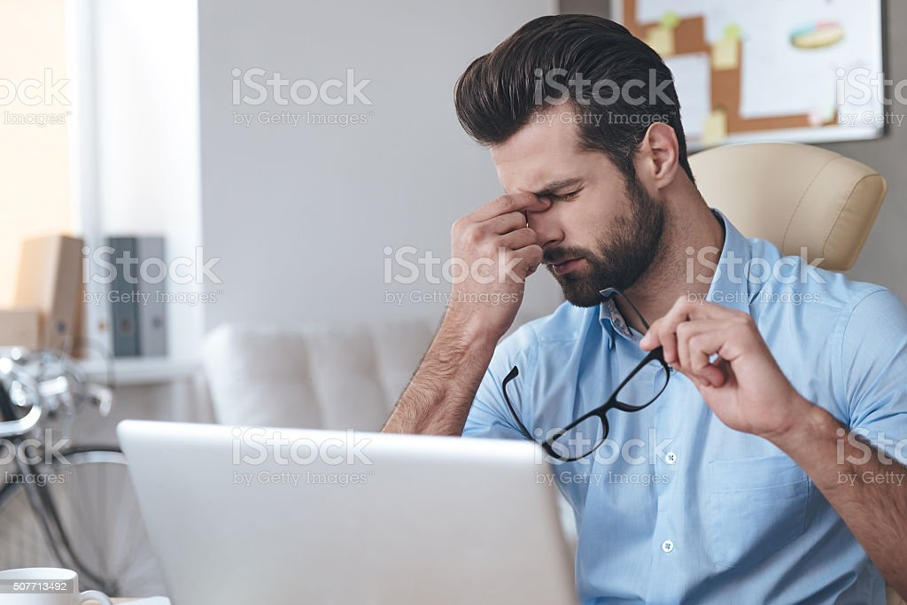 Feeling tired. stock photo