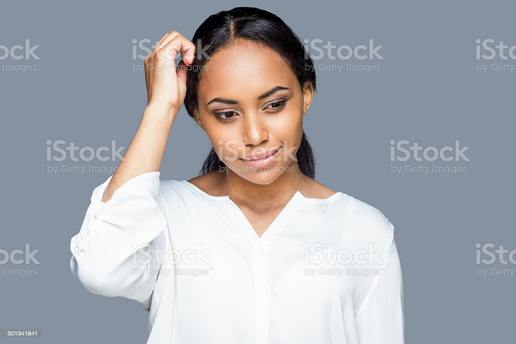 Feeling uncertain. stock photo