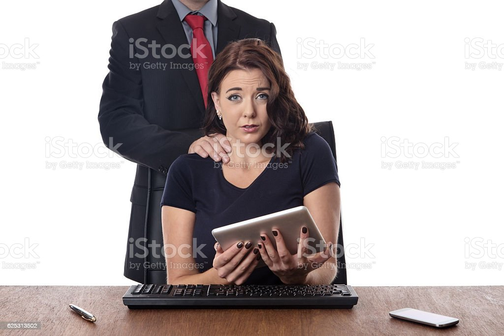 feeling uncomfortable about his touch stock photo