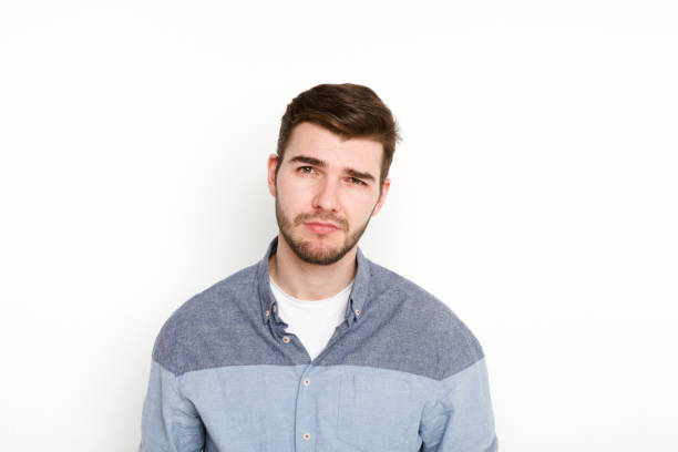 Feeling upset, sad man portrait stock photo